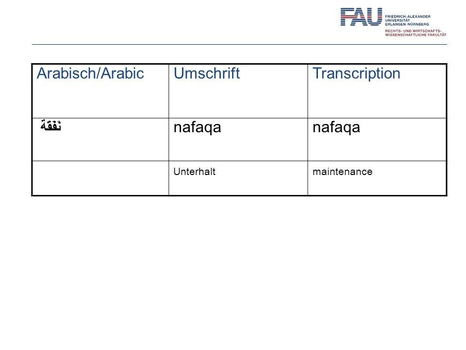 Arabisch/ArabicUmschriftTranscription نَفَقَة nafaqa Unterhaltmaintenance
