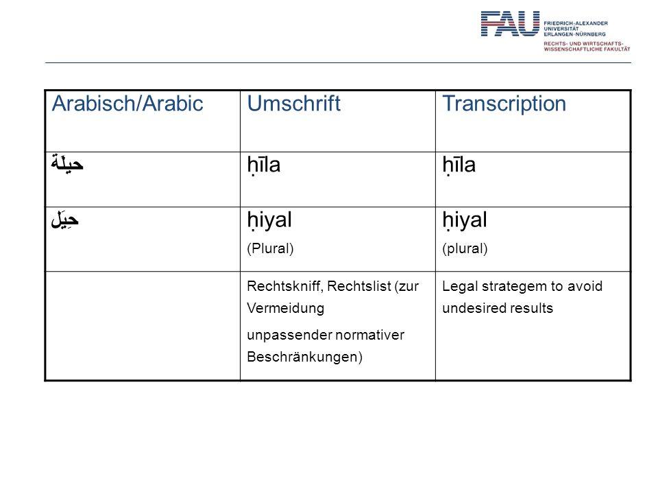 Arabisch/ArabicUmschriftTranscription حيلَة īla حِيَل iyal (Plural) iyal (plural) Rechtskniff, Rechtslist (zur Vermeidung unpassender normativer Beschränkungen) Legal strategem to avoid undesired results
