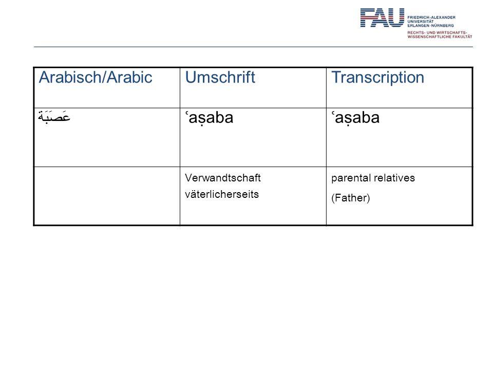Arabisch/ArabicUmschriftTranscription عَصَبَة ʿaaba Verwandtschaft väterlicherseits parental relatives (Father)