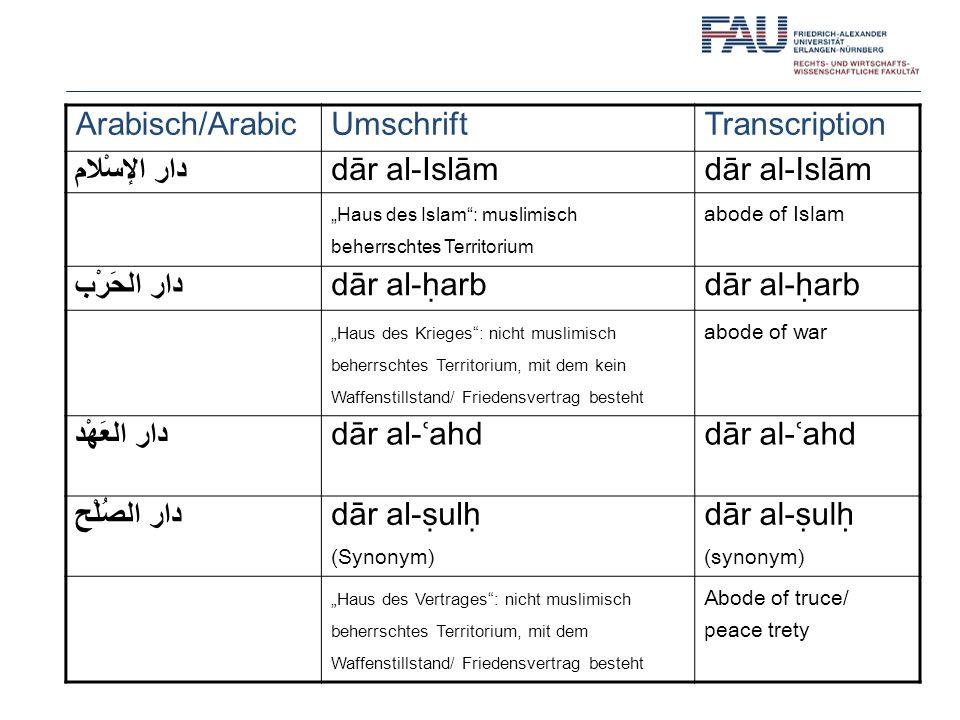 Arabisch/ArabicUmschriftTranscription دار الإسْلام dār al-Islām Haus des Islam: muslimisch beherrschtes Territorium abode of Islam دار الحَرْب dār al-