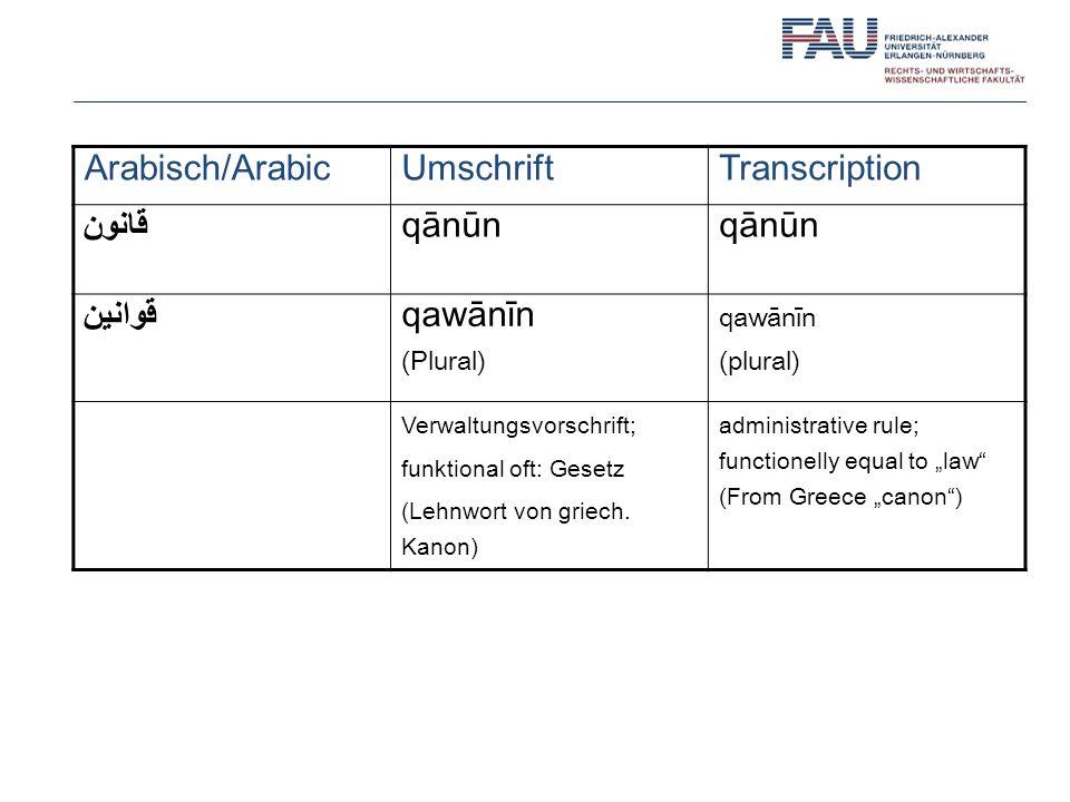 Arabisch/ArabicUmschriftTranscription قانون qānūn قَوانين qawānīn (Plural) qawānīn (plural) Verwaltungsvorschrift; funktional oft: Gesetz (Lehnwort vo