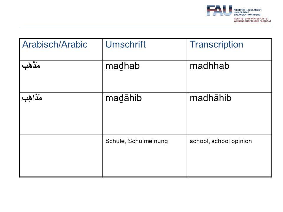 Arabisch/ArabicUmschriftTranscription مَذْهَب mahabmadhhab مَذاهِب maāhibmadhāhib Schule, Schulmeinungschool, school opinion