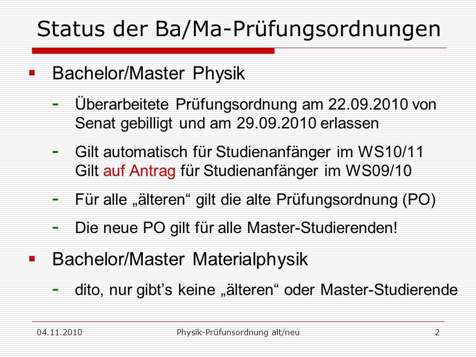 04.11.2010Physik-Prüfunsordnung alt/neu2 Status der Ba/Ma-Prüfungsordnungen Bachelor/Master Physik - Überarbeitete Prüfungsordnung am 22.09.2010 von S