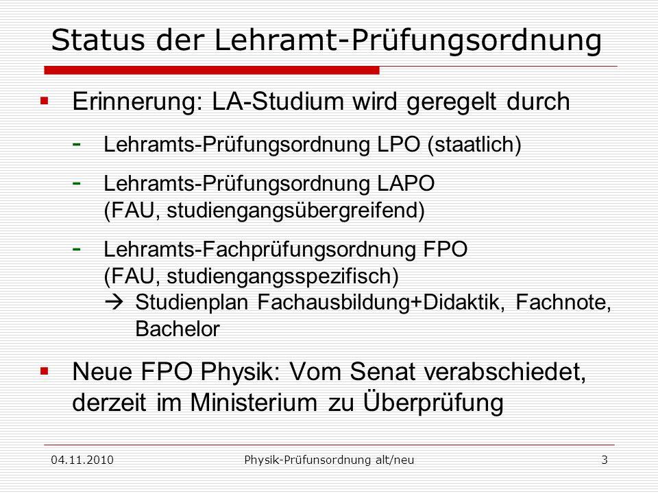 04.11.2010Physik-Prüfunsordnung alt/neu3 Status der Lehramt-Prüfungsordnung Erinnerung: LA-Studium wird geregelt durch - Lehramts-Prüfungsordnung LPO