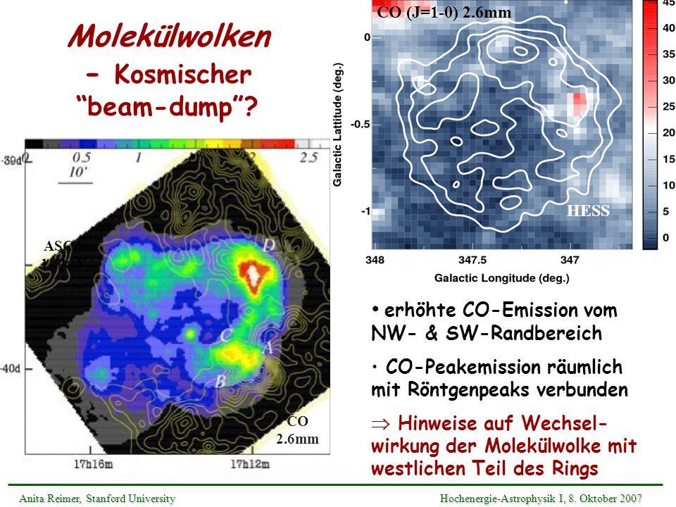 Molekülwolken - Kosmischer beam-dump? erhöhte CO-Emission vom NW- & SW-Randbereich CO-Peakemission räumlich mit Röntgenpeaks verbunden Hinweise auf We