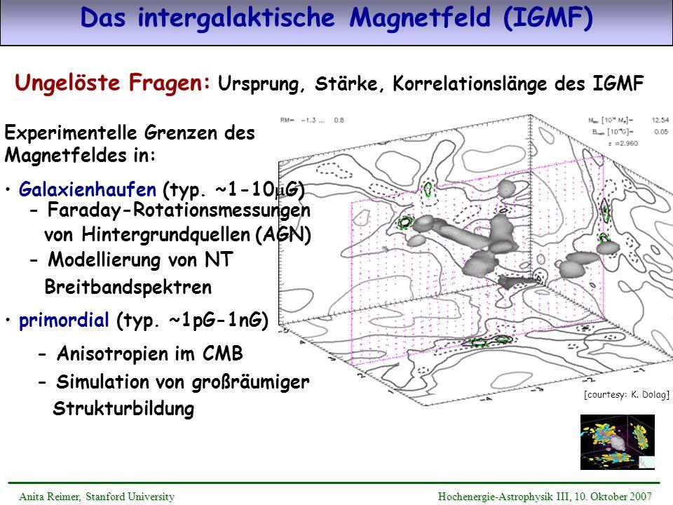 Das intergalaktische Magnetfeld (IGMF) Ungelöste Fragen: Ursprung, Stärke, Korrelationslänge des IGMF [courtesy: K. Dolag] primordial (typ. ~1pG-1nG)