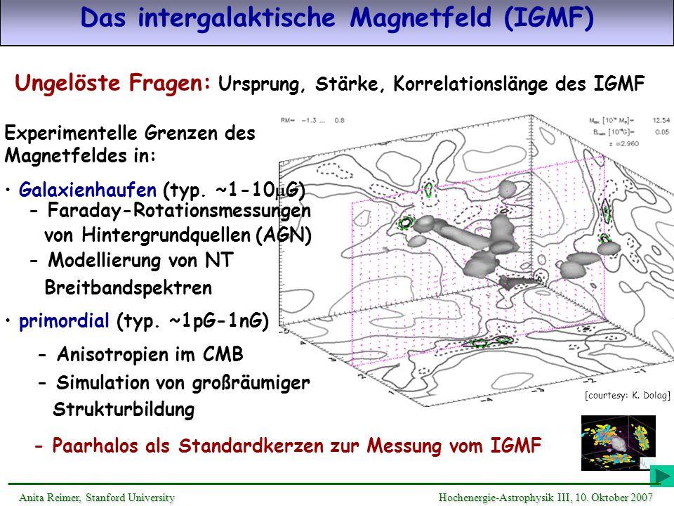 Das intergalaktische Magnetfeld (IGMF) Ungelöste Fragen: Ursprung, Stärke, Korrelationslänge des IGMF - Paarhalos als Standardkerzen zur Messung vom I