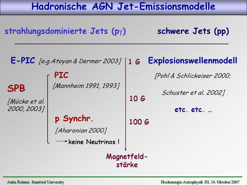 strahlungsdominierte Jets (p ) schwere Jets (pp) E-PIC [e.g.Atoyan & Dermer 2003] Explosionswellenmodell PIC [Pohl & Schlickeiser 2000; Schuster et al