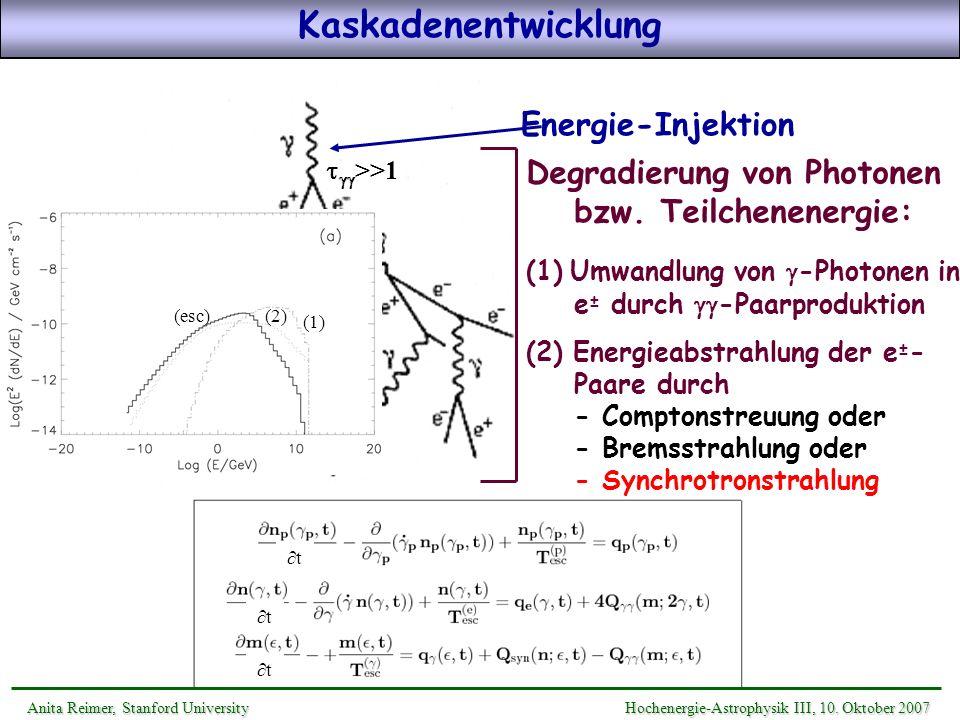 >>1 Energie-Injektion Degradierung von Photonen bzw. Teilchenenergie: (1) Umwandlung von -Photonen in e ± durch -Paarproduktion (2) Energieabstrahlung