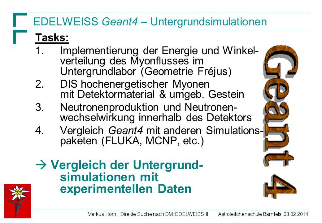 Astroteilchenschule Bärnfels, 08.02.2014Markus Horn: Direkte Suche nach DM: EDELWEISS-II EDELWEISS Geant4 – Untergrundsimulationen Tasks: 1.Implementi
