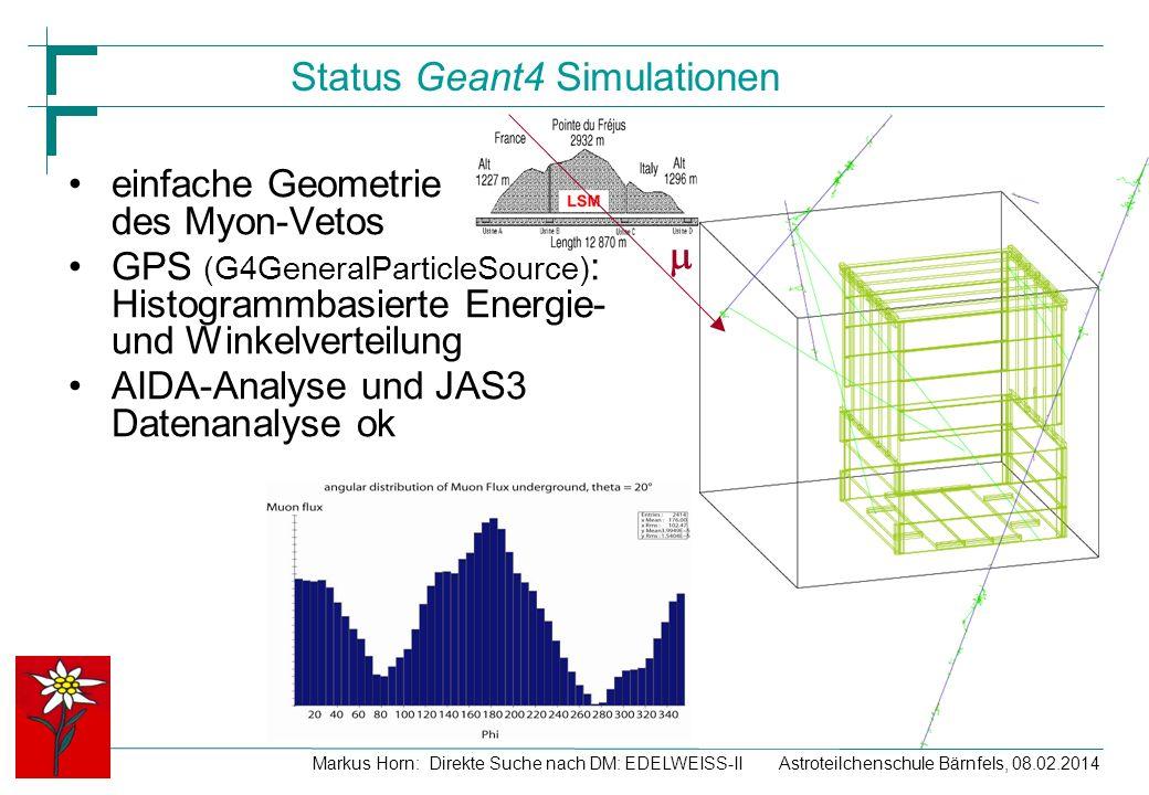 Astroteilchenschule Bärnfels, 08.02.2014Markus Horn: Direkte Suche nach DM: EDELWEISS-II Status Geant4 Simulationen einfache Geometrie des Myon-Vetos