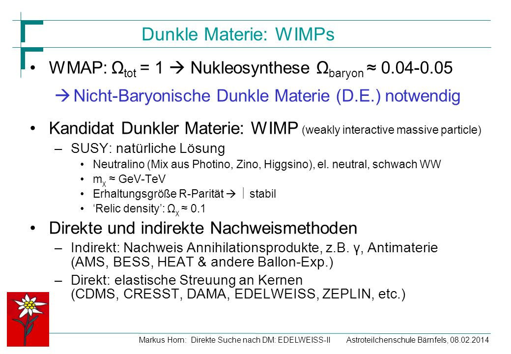 Astroteilchenschule Bärnfels, 08.02.2014Markus Horn: Direkte Suche nach DM: EDELWEISS-II Dunkle Materie: WIMPs WMAP: Ω tot = 1 Nukleosynthese Ω baryon