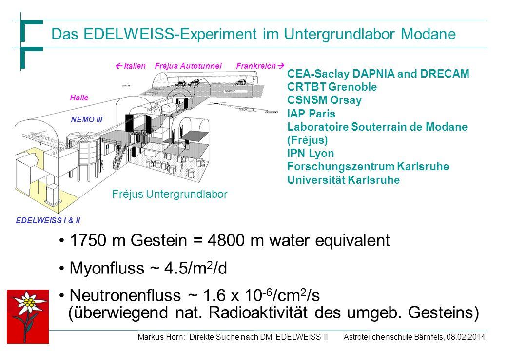 Astroteilchenschule Bärnfels, 08.02.2014Markus Horn: Direkte Suche nach DM: EDELWEISS-II Das EDELWEISS-Experiment im Untergrundlabor Modane CEA-Saclay