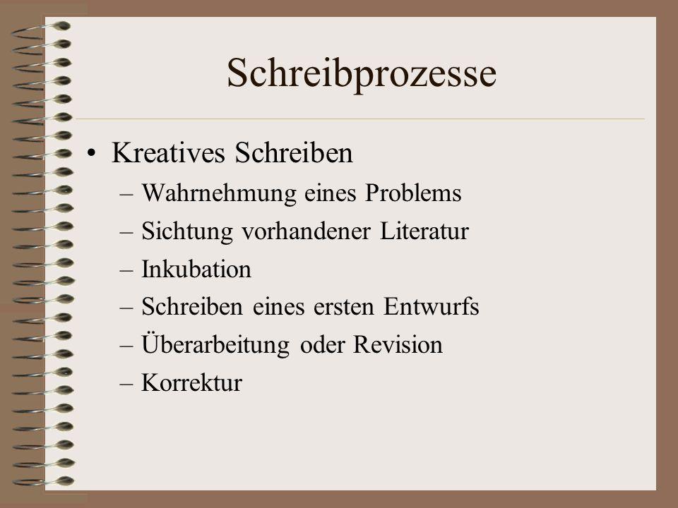 Schreibprozesse Kreatives Schreiben –Wahrnehmung eines Problems –Sichtung vorhandener Literatur –Inkubation –Schreiben eines ersten Entwurfs –Überarbe