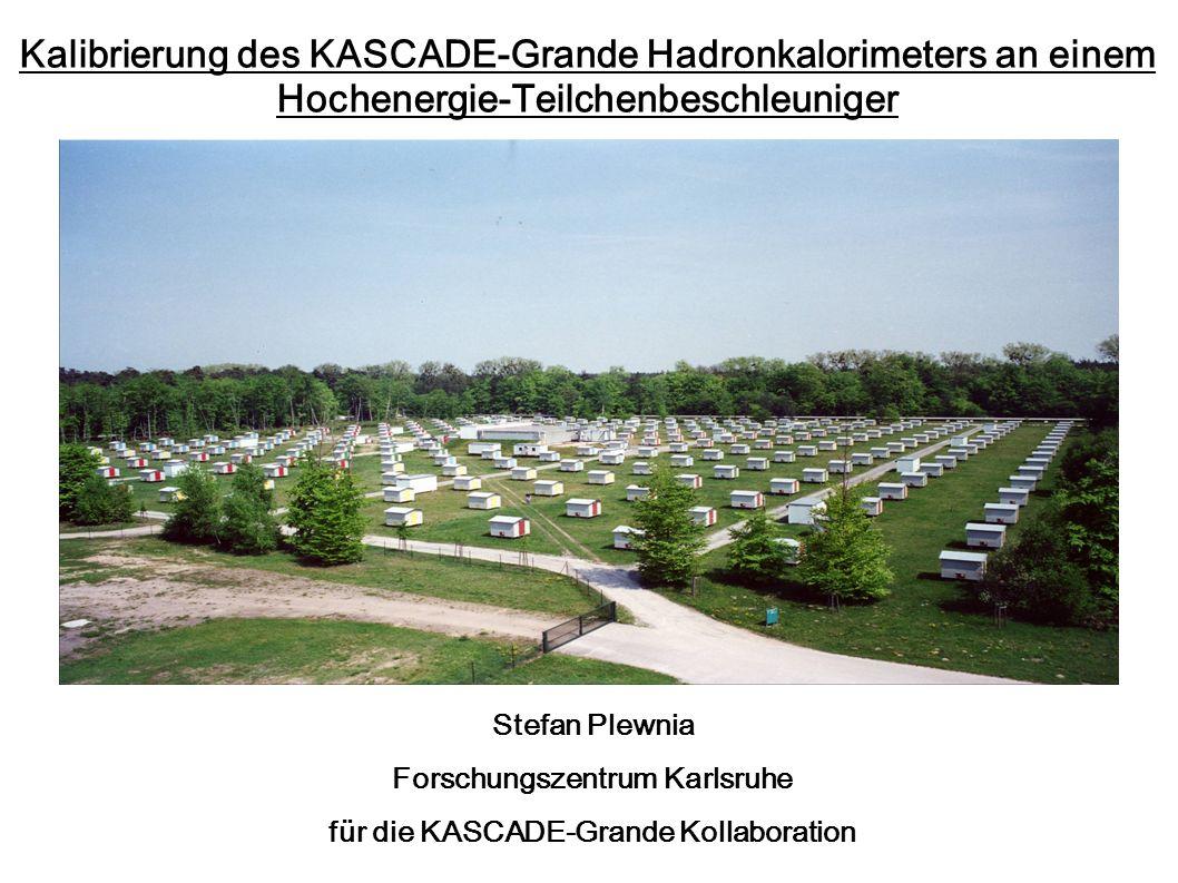 Kalibrierung des KASCADE-Grande Hadronkalorimeters an einem Hochenergie-Teilchenbeschleuniger Stefan Plewnia Forschungszentrum Karlsruhe für die KASCA