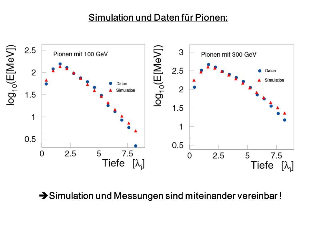 Simulation und Daten für Pionen: Simulation und Messungen sind miteinander vereinbar !