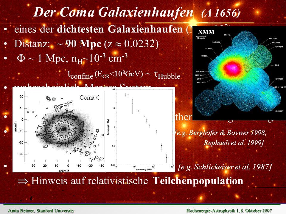 Der Coma Galaxienhaufen (A 1656) eines der dichtesten Galaxienhaufen (N g > 10 3 ) Distanz: ~ 90 Mpc (z 0.0232) ~ 1 Mpc, n H ~10 -3 cm -3 t confine (E