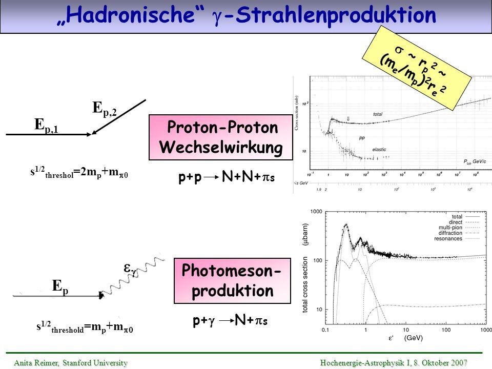 Hadronische -Strahlenproduktion Photomeson- produktion EpEp s 1/2 threshold =m p +m p+ N+ s s 1/2 threshol =2m p +m 0 E p,1 E p,2 p+p N+N+ s Proton-Pr