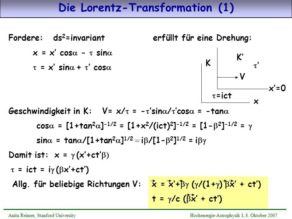 Die Lorentz-Transformation (1) Anita Reimer, Stanford UniversityHochenergie-Astrophysik I, 8. Oktober 2007 Anita Reimer, Stanford University Hochenerg