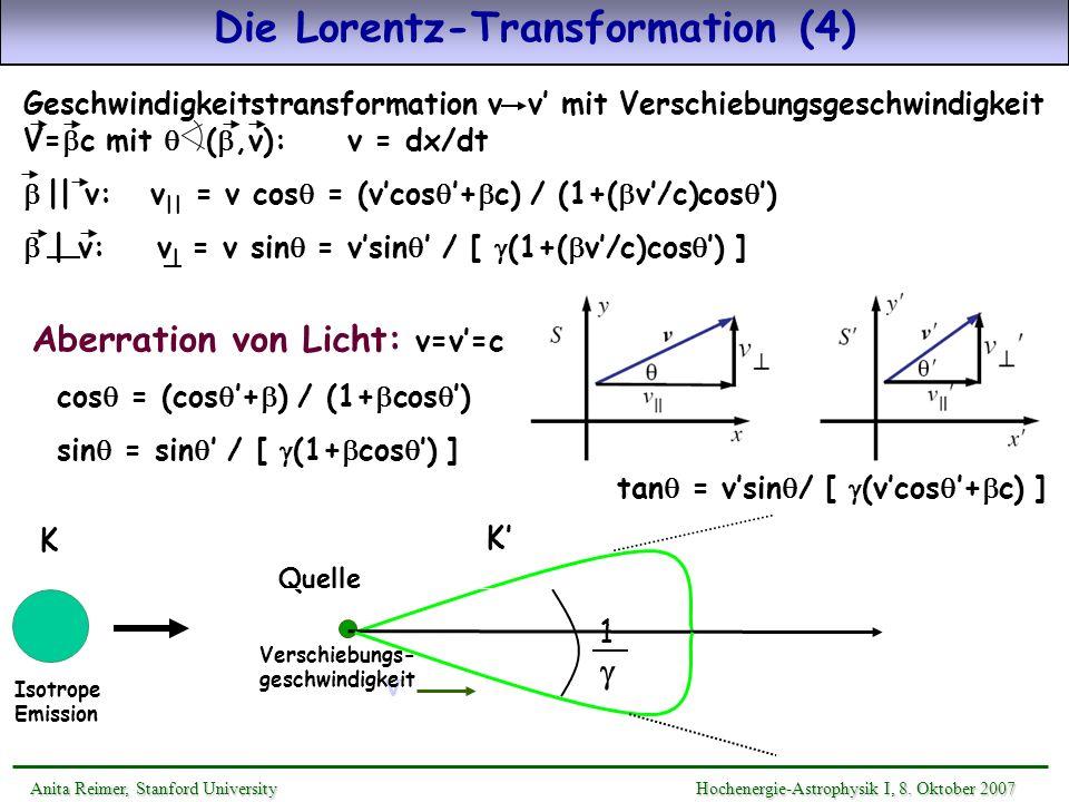 Quelle 1 v Verschiebungs- geschwindigkeit Die Lorentz-Transformation (4) Aberration von Licht: v=v=c cos = (cos + ) / (1+ cos ) sin = sin / [ (1+ cos