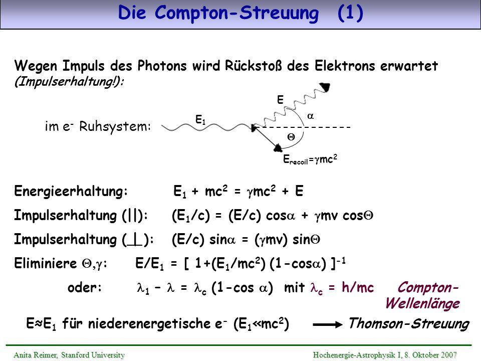 Wegen Impuls des Photons wird Rückstoß des Elektrons erwartet (Impulserhaltung!): Energieerhaltung: E 1 + mc 2 = mc 2 + E Impulserhaltung (||): (E 1 /