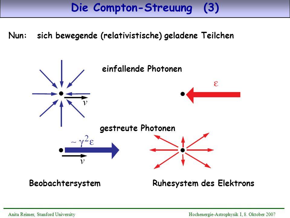 Nun: sich bewegende (relativistische) geladene Teilchen Die Compton-Streuung (3) Ruhesystem des Elektrons Anita Reimer, Stanford UniversityHochenergie