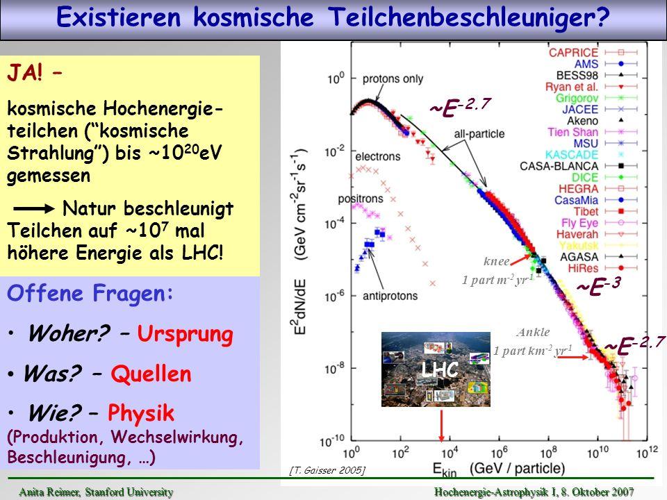 JA! – kosmische Hochenergie- teilchen (kosmische Strahlung) bis ~10 20 eV gemessen Natur beschleunigt Teilchen auf ~10 7 mal höhere Energie als LHC! ~