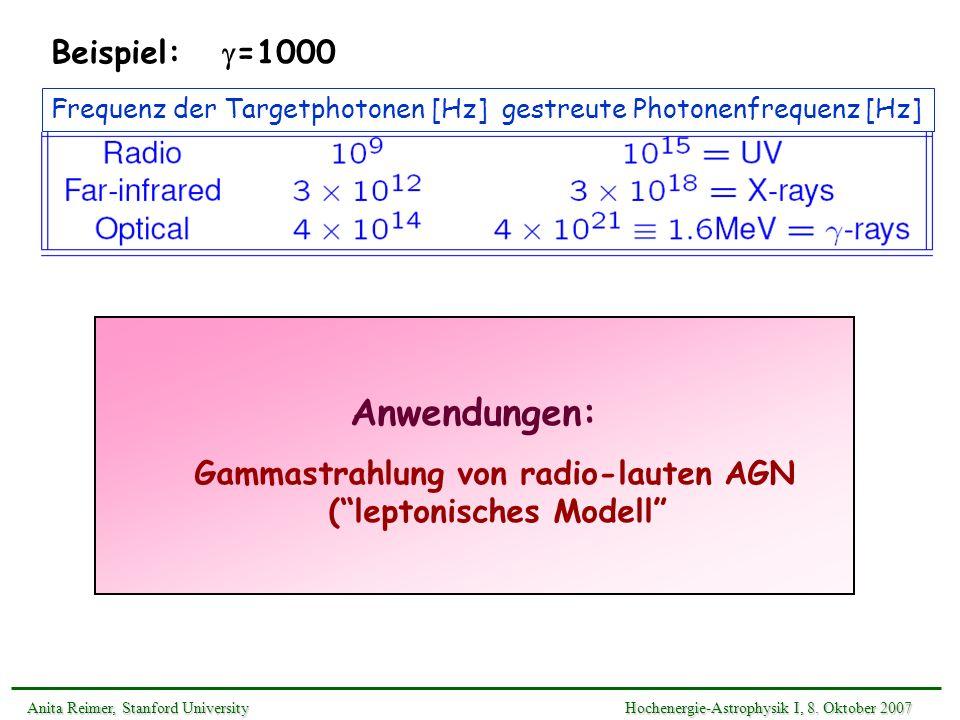 Anwendungen: Gammastrahlung von radio-lauten AGN (leptonisches Modell Anita Reimer, Stanford UniversityHochenergie-Astrophysik I, 8. Oktober 2007 Anit