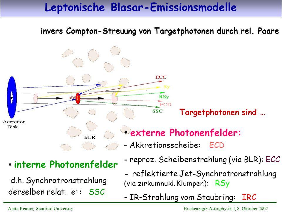 invers Compton-Streuung von Targetphotonen durch rel. Paare Targetphotonen sind … interne Photonenfelder d.h. Synchrotronstrahlung derselben relat. e