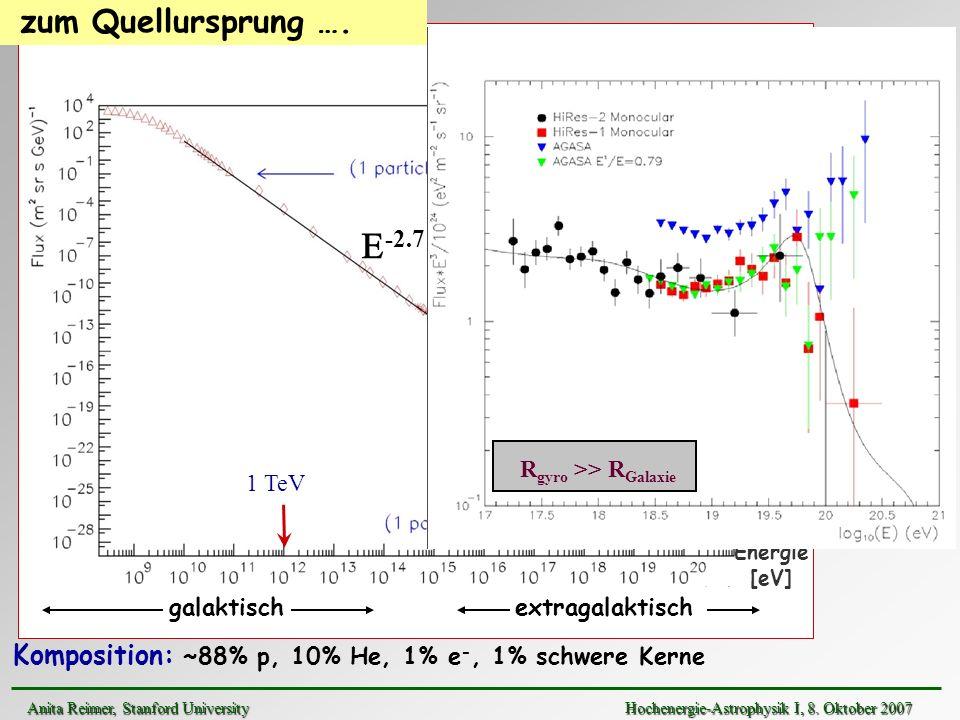 1 TeV -2.7 Energie [eV] Komposition: ~88% p, 10% He, 1% e -, 1% schwere Kerne zum Quellursprung …. E -3.0 R gyro >> R Galaxie galaktischextragalaktisc