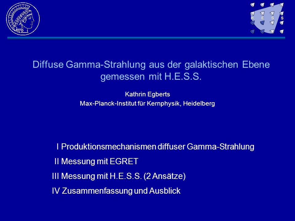 Diffuse Gamma-Strahlung aus der galaktischen Ebene gemessen mit H.E.S.S. Kathrin Egberts Max-Planck-Institut für Kernphysik, Heidelberg I Produktionsm