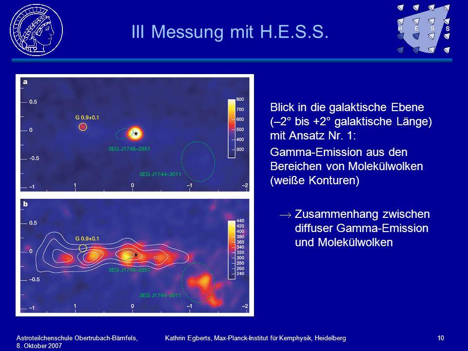 Astroteilchenschule Obertrubach-Bärnfels, 8. Oktober 2007 Kathrin Egberts, Max-Planck-Institut für Kernphysik, Heidelberg10 III Messung mit H.E.S.S. B