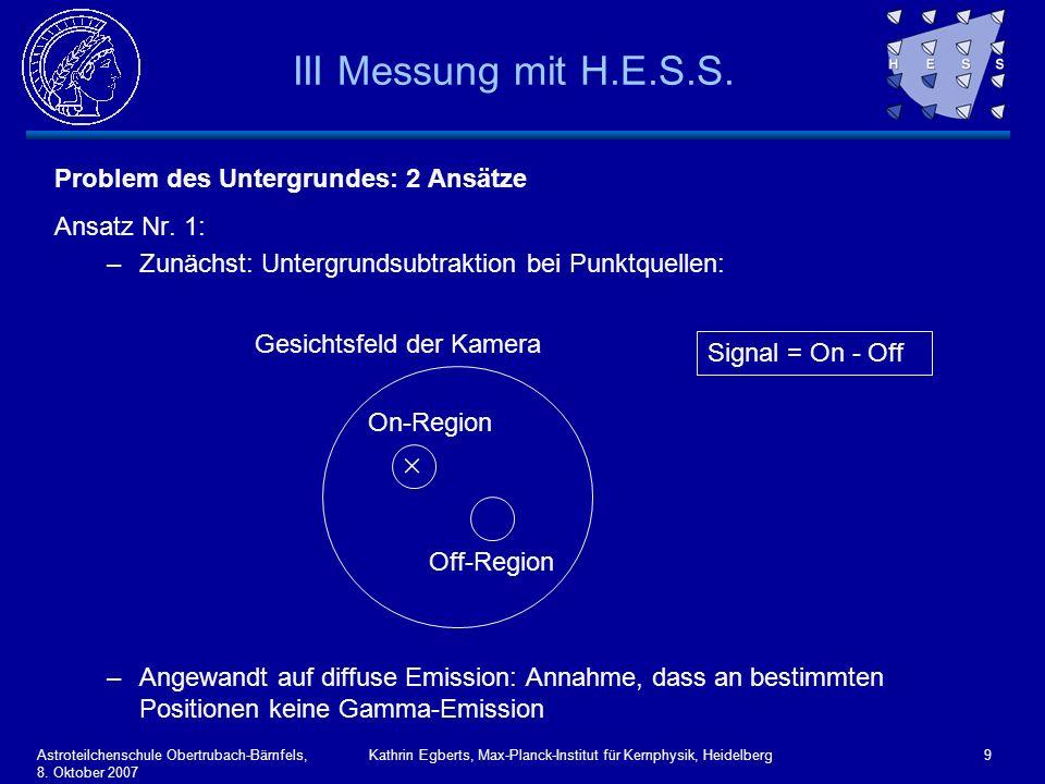 Astroteilchenschule Obertrubach-Bärnfels, 8. Oktober 2007 Kathrin Egberts, Max-Planck-Institut für Kernphysik, Heidelberg9 III Messung mit H.E.S.S. Pr