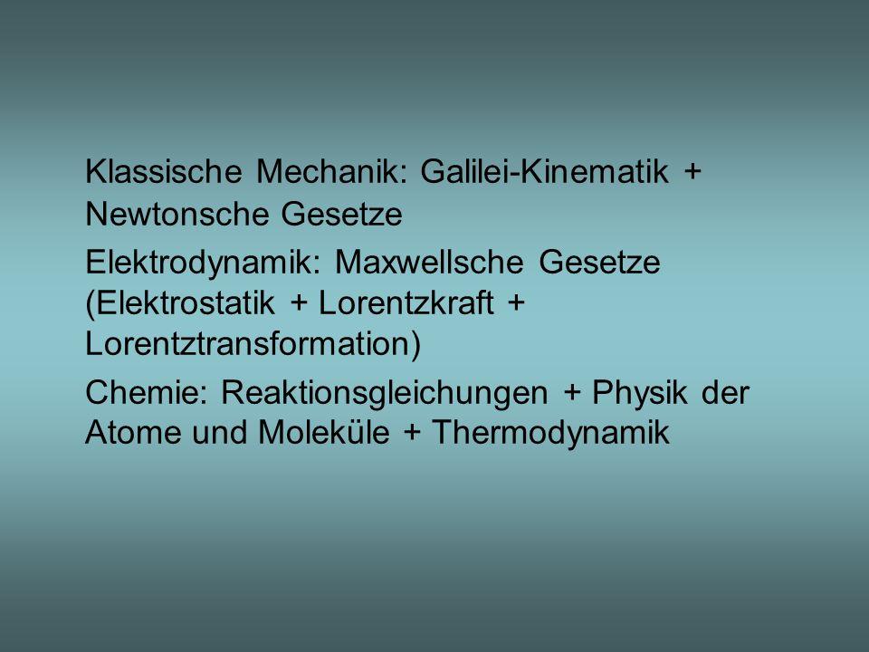 Klassische Mechanik: Galilei-Kinematik + Newtonsche Gesetze Elektrodynamik: Maxwellsche Gesetze (Elektrostatik + Lorentzkraft + Lorentztransformation)