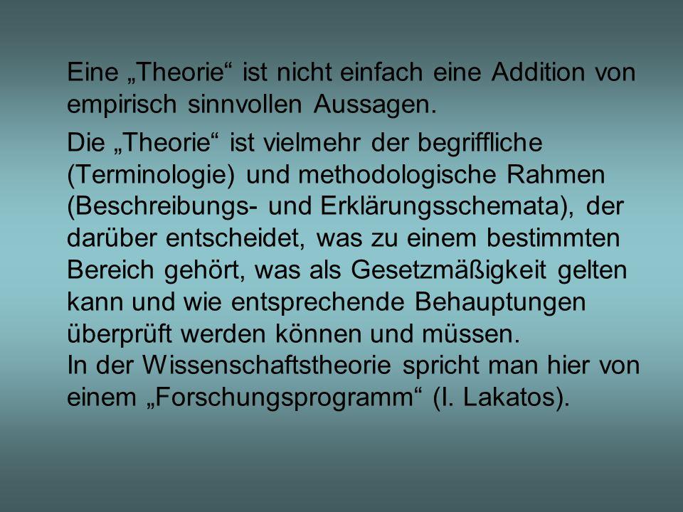 Eine Theorie ist nicht einfach eine Addition von empirisch sinnvollen Aussagen. Die Theorie ist vielmehr der begriffliche (Terminologie) und methodolo
