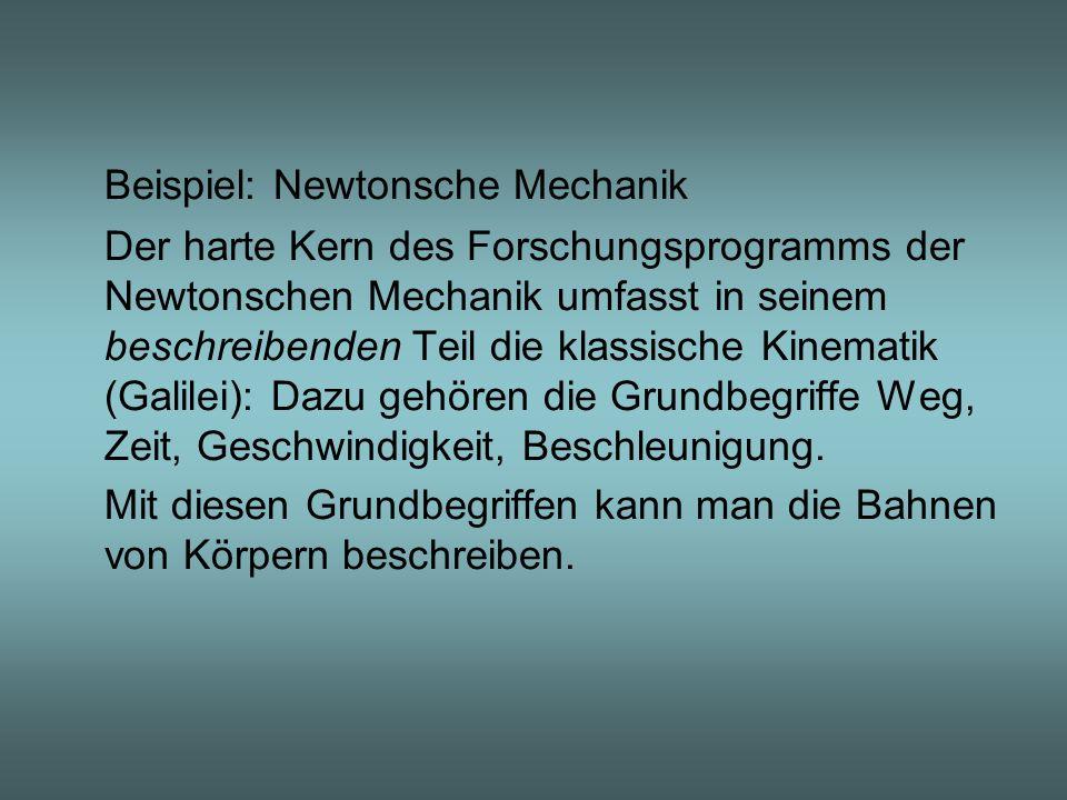 Beispiel: Newtonsche Mechanik Der harte Kern des Forschungsprogramms der Newtonschen Mechanik umfasst in seinem beschreibenden Teil die klassische Kin