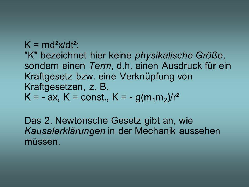 K = md²x/dt²: