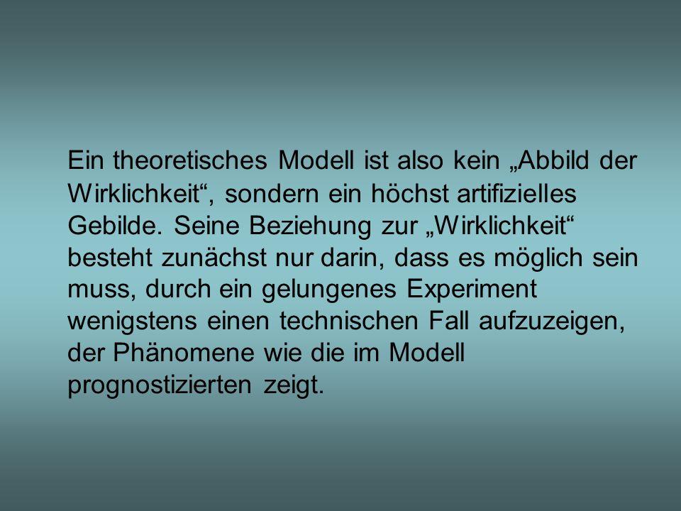 Ein theoretisches Modell ist also kein Abbild der Wirklichkeit, sondern ein höchst artifizielles Gebilde. Seine Beziehung zur Wirklichkeit besteht zun