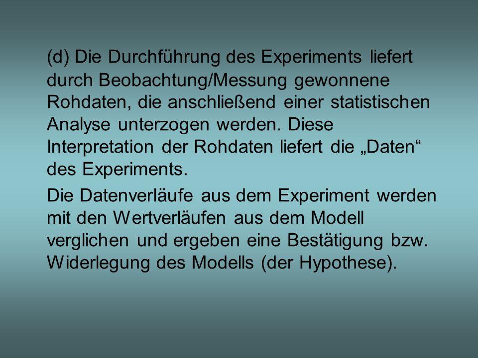 (d) Die Durchführung des Experiments liefert durch Beobachtung/Messung gewonnene Rohdaten, die anschließend einer statistischen Analyse unterzogen wer