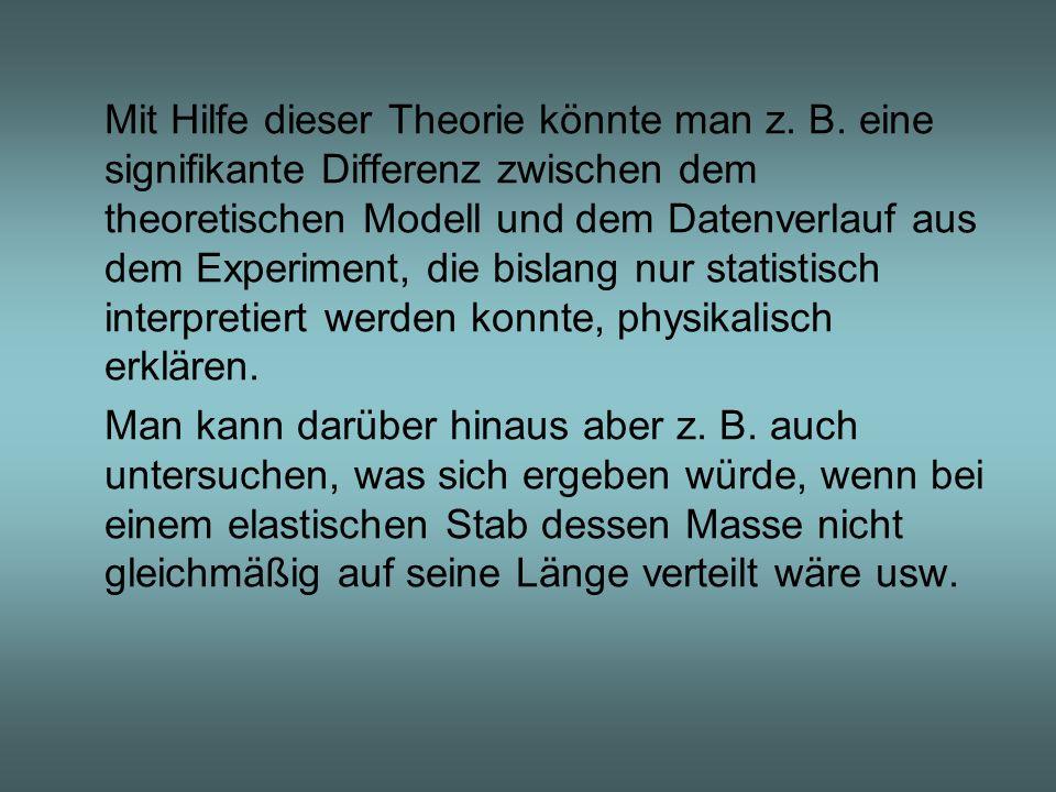 Mit Hilfe dieser Theorie könnte man z. B. eine signifikante Differenz zwischen dem theoretischen Modell und dem Datenverlauf aus dem Experiment, die b