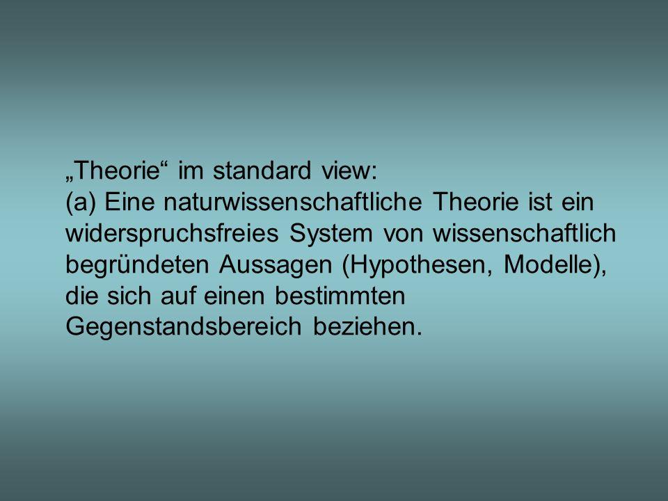 Theorie im standard view: (a) Eine naturwissenschaftliche Theorie ist ein widerspruchsfreies System von wissenschaftlich begründeten Aussagen (Hypothe