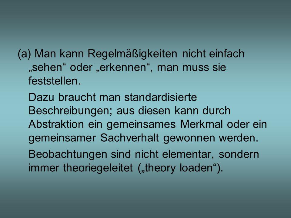 (b) Durch Verallgemeinerung kommt man nie zu Theorien, jedenfalls nicht zu den Theorien, die wir z.