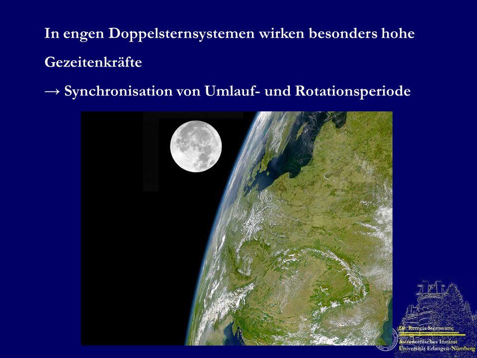 In engen Doppelsternsystemen wirken besonders hohe Gezeitenkräfte Synchronisation von Umlauf- und Rotationsperiode