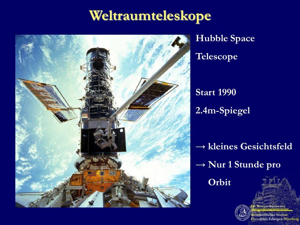 Weltraumteleskope Hubble Space Telescope Start 1990 2.4m-Spiegel kleines Gesichtsfeld Nur 1 Stunde pro Orbit