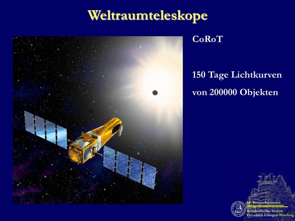 Weltraumteleskope CoRoT 150 Tage Lichtkurven von 200000 Objekten