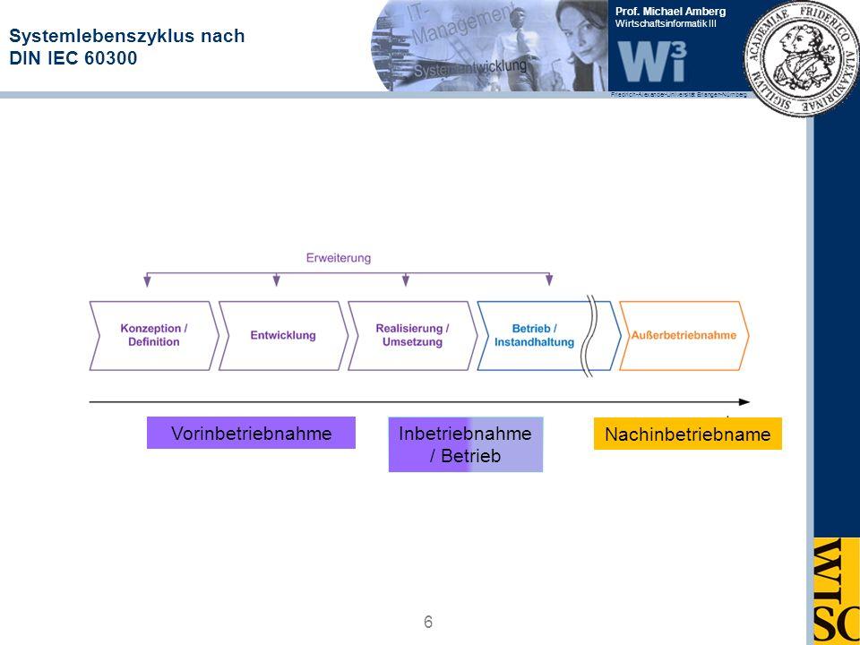 Friedrich-Alexander-Universität Erlangen-Nürnberg Prof. Michael Amberg Wirtschaftsinformatik III Systemlebenszyklus nach DIN IEC 60300 6 Vorinbetriebn