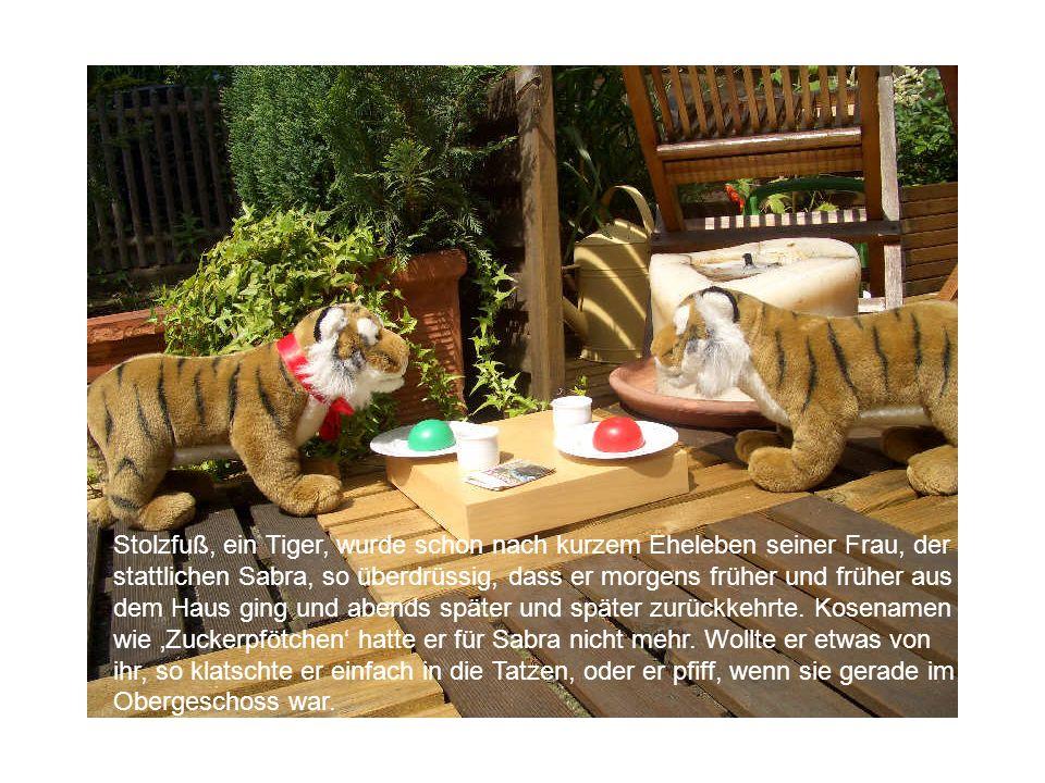 Stolzfuß, ein Tiger, wurde schon nach kurzem Eheleben seiner Frau, der stattlichen Sabra, so überdrüssig, dass er morgens früher und früher aus dem Haus ging und abends später und später zurückkehrte.