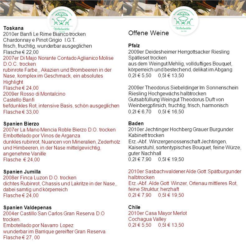 Pfalz 2009er Deidesheimer Herrgottsacker Riesling Spätlese trocken aus dem Weingut Mehlig, vollduftiges Bouquet, körperreich und bestechend, delikat im Abgang Flasche 19,00 2009er Theodorus Siebeldinger Im Sonnenschein Riesling Hochgewächs halbtrocken Gutsabfüllung Weingut Theodorus Duft von Weinbergpfirsich, fruchtig, frisch, harmonisch Flasche 21,00 2009er Villa Bürklin Rot trocken Gutsabfüllung Dr.