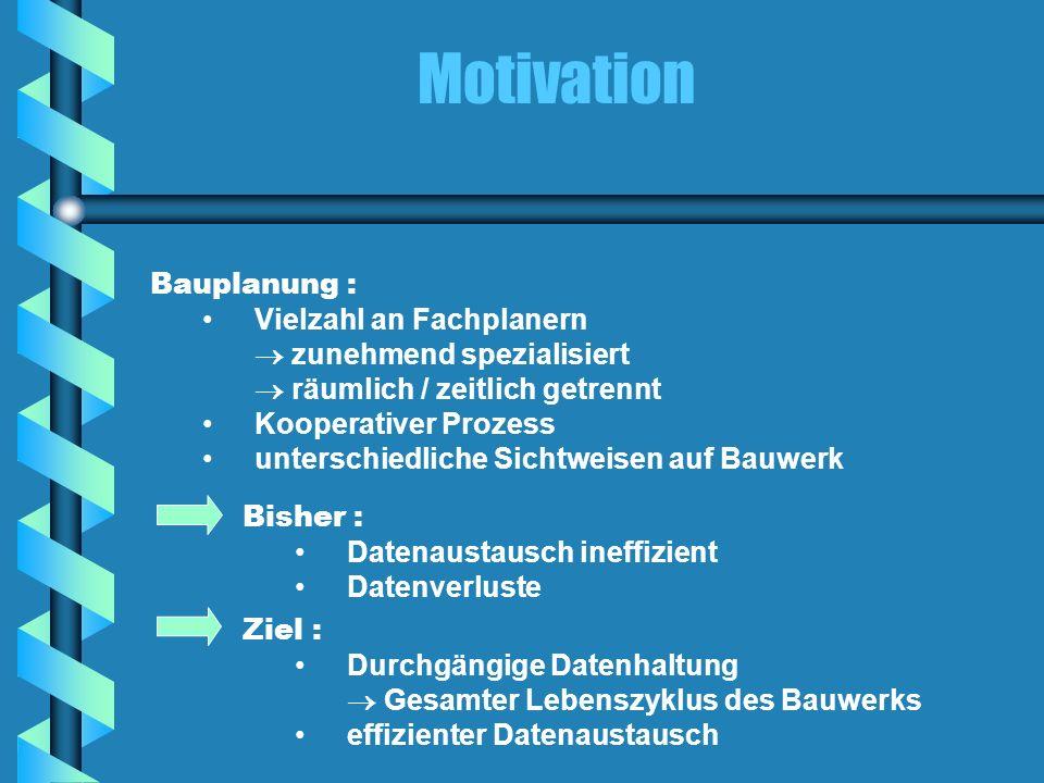 Motivation Bauplanung : Vielzahl an Fachplanern zunehmend spezialisiert räumlich / zeitlich getrennt Kooperativer Prozess unterschiedliche Sichtweisen
