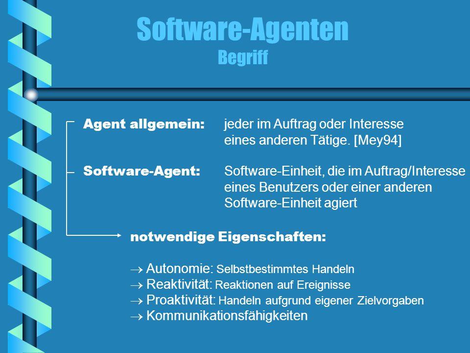 Software-Agenten Begriff Agent allgemein: jeder im Auftrag oder Interesse eines anderen Tätige. [Mey94] Software-Agent: Software-Einheit, die im Auftr